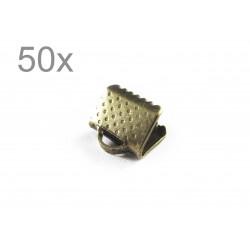 50x bronze Bandklemme 6mm bronzefarbene Bandklemmen - bronze Schmuckzubehör