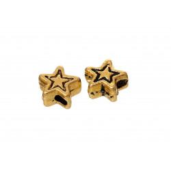 5x gold Stern 4mm gold Metallperlen Sternform gold Spacer - gold Schmuckzubehör Metallperle