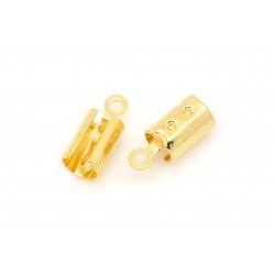 10x gold Endkappe 12x5mm goldfarben Quetschröhrchen - Schmuckzubehör