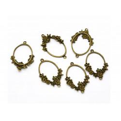1x bronze Kettenverbinder 41mmx26mm mit Blumen filigranes Zwischenstück Kettenverteiler bronzefarben - bronze Schmuckzubehör
