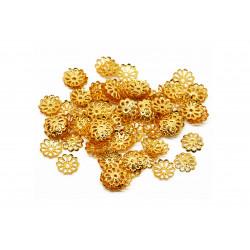 10g filigrane gold Perlenkappen ca. 9x1,5mm goldfarbene runde Perlen Kappen - Schmuckzubehör gold Perlenkappe