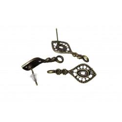 2 Stück / 1 Paar bronze Ohrstecker mit Öse 28mm x14mm filigrane bronze Studs mit Stopper - bronze Schmuckzubehör Ohrringe