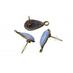 1 Paar bronze Ohrstecker mit flieder Stein und Öse 20mmx16mm bronze Studs mit Stopper - bronze Schmuckzubehör Ohrringe