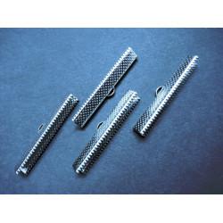 4x silber 40mm Bandklemme silberfarben - Schmuckzubehör Bandklemme 40mm