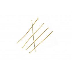 30 hellgold Nietstifte 40mm goldfarben Schmuckdraht mit Kopf - Schmuckzubehör Nietstifte