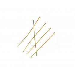 Hellgold Nietstifte 50mm goldfarben Schmuckdraht mit Kopf - Schmuckzubehör Nietstifte