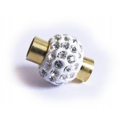 1x gold Strass Magnetverschluss 18x14mm Innen 5,5mm kugelförmiger Magnetverschluss mit Strass - Schmuckzubehör Magnetverschluss