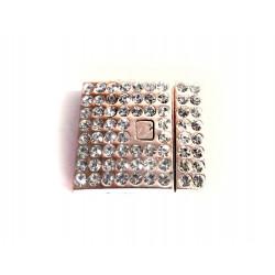 1x rosegold Magnet Verschluss mit Strass 25x22,50x6mm innen 20x2mm rosegold Verschluss zum Einkleben - rosegold Schmuckzubehör