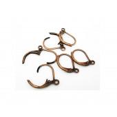 1 Paar kupfer Brisuren 16x10mm geschlossene Ohrhaken Ohrfedern kupferfarbene Brisuren - Schmuckzubehör zum Ohrringe selbermachen