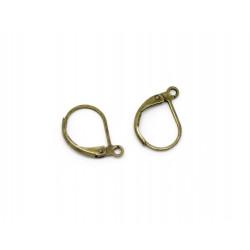1 Paar bronze Brisuren 16x10mm geschlossene Ohrhaken Ohrfedern bronzefarbene Brisuren - Schmuckzubehör zum Ohrringe selbermachen
