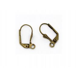 1 Paar bronze Brisuren 10x17mm geschlossene Ohrhaken Ohrfedern bronzefarbene Brisuren - Schmuckzubehör zum Ohrringe selbermachen