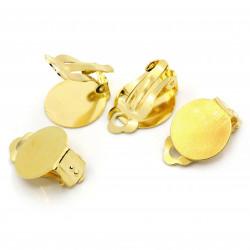 2 Stück / 1 Paar gold Ohrclips ca. 22x15mm goldfarbene Ohrclips zum Bekleben - Schmuckzubehör zum Ohrclips selbermachen