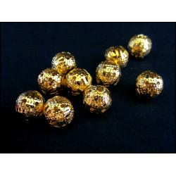 10x filigrane Kugel goldfarben 8mm Metallperlen Spacer