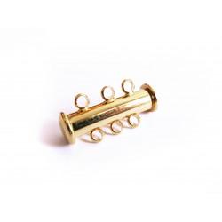1x 3-Strang Magnetverschluss gold Einschiebverschluss Schmuckverschluss - Schmuckzubehör Magnetverschluss