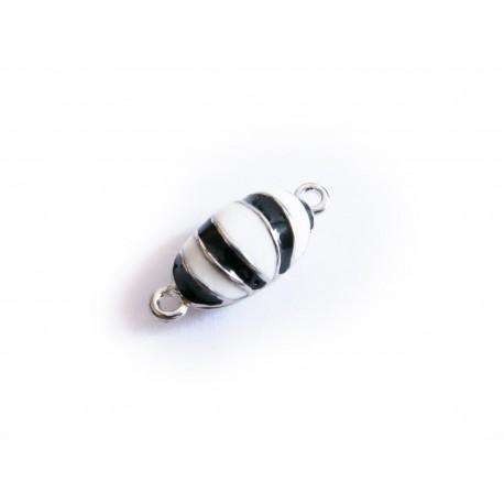 1x schwarz weiss silber Magnetverschluss 21x9x8mm emailiierter Schmuckverschluss - Schmuckzubehör Magnetverschluss