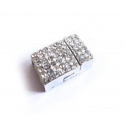 1x hellsilber Strass Magnet Verschluss 20x13x7mm Innen 10x3mm hellsilber Einklebverschluss - Schmuckzubehör Schmuckverschluss