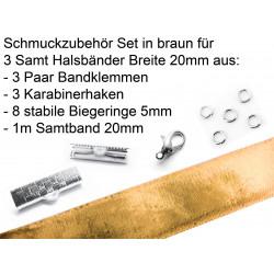 Schmuckzubehör Set in hellbraun für 20mm Halsband aus Samtband, Bandklemmen, Karabinern + Biegeringen - Schmuckzubehör Set