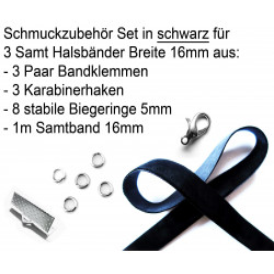 Schmuckzubehör Set 16mm Halsband mit schwarzem Samtband, hellsilber Bandklemmen, Karabinern + Biegeringen - Schmuckzubehör Set
