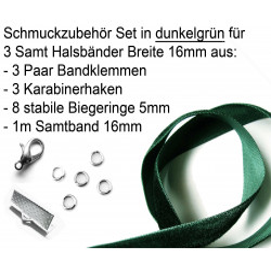 Bastelset für 16mm Halsband in dunkelgrün Samtband, hellsilber Bandklemmen, Karabinern + Biegeringen - Schmuckzubehör Set