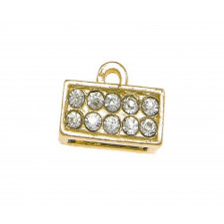 1x gold Strass Endkappe 11x5mm innen 8,5x3mm zum Einkleben gold Einklebkappe - Schmuckzubehör Endkappe