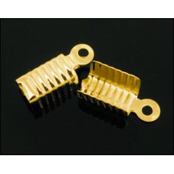 10x gold Endkappe 12x5mm gold Lederband Klemme - Schmuckzubehör Endkappe