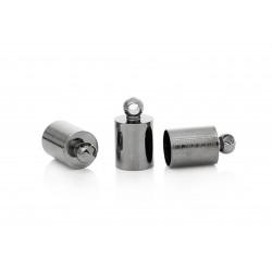 10x gunmetal Endkappe 10x5,5mm Innen 5mm metallschwarze Einklebkappe mit Ösen - gunmetal Schmuckzubehör Endkappe