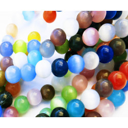 Perlenmix bunte Cateye Perlen Größe 8mm Perlen 1 Strang ca. 45 Stück - Schmuckzubehör Catyeye