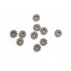 Runde, flache Metallperle Durchmesser 8mm silberfarben Spacer - Schmuckzubehör