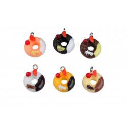 15x bunte Resin Donuts als Schmuckanhänger ca. 18x14mm Kuchen Schmuckanhänger - Schmuckzubehör