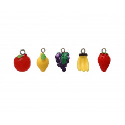 5x bunte Obst Schmuckanhänger aus Resin Fruchtmix Schmuck Anhänger - Schmuckzubehör