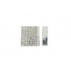1x hellsilber Strass Magnet Verschluss 22x23x7mm Innen 3x21mm hellsilber Einklebverschluss - Schmuckzubehör Schmuckverschluss