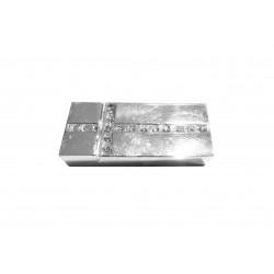 1x hellsilber Strass Magnet Verschluss II. Wahl 32x14x7mm Innen 10x3mm hellsilber Einklebverschluss - Schmuckzubehör