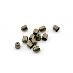 10x bronze Endkappe 5x6mm Innen 5mm runde bronze Einklebkappen mit Loch - Schmuckzubehör