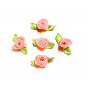 10x rosa Satinrose mit grünen Blättern 25x15mm zum Bekleben Scrapbooking - Bastelbedarf Schmuckzubehör