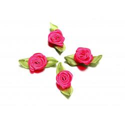 10x fuchsia Satinrose mit grünen Blättern 25x15mm zum Bekleben Scrapbooking - Bastelbedarf Schmuckzubehör