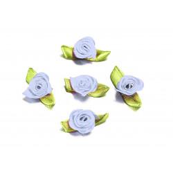 10x hellblaue Satinrose mit grünen Blättern 25x15mm zum Bekleben Scrapbooking - Bastelbedarf Schmuckzubehör