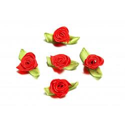 10x rote Satinrose mit grünen Blättern 25x15mm zum Bekleben Scrapbooking - Bastelbedarf Schmuckzubehör
