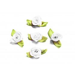 10x weisse Satinrose mit grünen Blättern 25x15mm zum Bekleben Scrapbooking - Bastelbedarf Schmuckzubehör