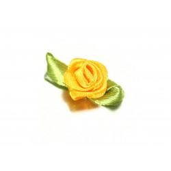 10x gelbe Satinrose mit grünen Blättern 25x15mm zum Bekleben Scrapbooking - Bastelbedarf Schmuckzubehör