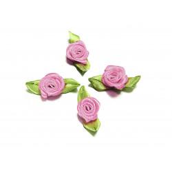 10x hellflieder Satinrose mit grünen Blättern 25x15mm zum Bekleben Scrapbooking - Bastelbedarf Schmuckzubehör