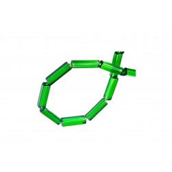 1 Strang grüne Glasperlen 20x5mm zylinder Tube transparente grüne Glasperlen - Schmuckzubehör