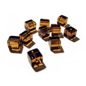 4x Hellbraune Kristallglas Würfel Perlen 10x10mm Cubes - Glasschmuck Schmuckzubehör