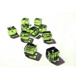 4x Hellgrüne Kristallglas Würfel Perlen 10x10mm grüne Cubes - Glasschmuck Schmuckzubehör