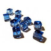 4x Blaue Kristallglas Würfel Perlen 10x10mm Cubes - Glasschmuck Schmuckzubehör