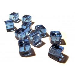 4x Hellblaue Kristallglas Würfel Perlen 10x10mm Cubes - Glasschmuck Schmuckzubehör