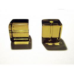 4x Light Topaz 10x10mm Kristallglas Würfel Perlen Cubes - Glasschmuck Schmuckzubehör