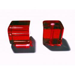 4x Rote Kristallglas Würfel Perlen 10x10mm Cubes - Glasschmuck Schmuckzubehör