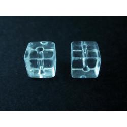 4x Transparent 10x10mm Kristallglas Würfel Perlen - Schmuckzubehör