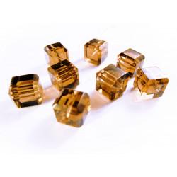 4x braune 10x10mm Kristallglas Würfel Perlen mit geschliffener Kante - Glasschmuck Schmuckzubehör