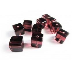10x Amethystfarbene Lila Kristallglas Würfel Perlen 8 x 8 mm